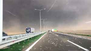 News video: Scary Storm Surprises Drivers On Serbian Highway
