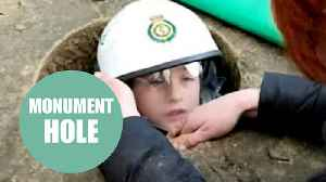 News video: Boy spent almost three hours stuck inside a stone monument