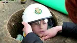 News video: A Young Boy Was Trapped inside A Stone Monument For Three Hours