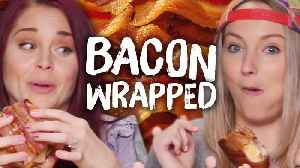 News video: 6 Bacon Wrapped MYSTERY FOODS! (Cheat Day)