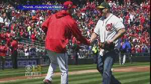 News video: Officer Who Confronted School Shooter Throws Out First Pitch At Nationals Game