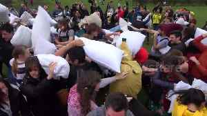 News video: Feathers fly in London during mass pillow fight