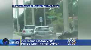 News video: Road Rage: Car Rams Motorcyclist; Police Looking For Driver