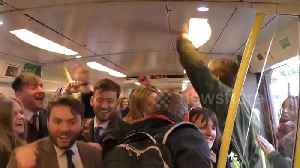 News video: Impromptu rave surprises racegoers on train home from Grand National