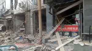 News video: Dramatic moment store explodes injuring two in China