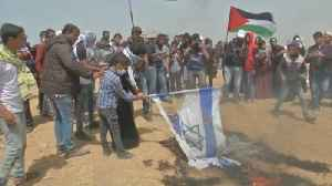 News video: Israeli flags burn as protests on Gaza border move into third week