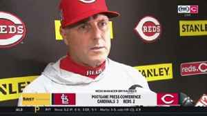 Bryan Price disappointed offense couldn't back up Homer Bailey [Video]
