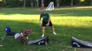"""News video: """"Toddler Boy Falls Off Bike and Says """"I'm Fine"""" As He Faceplants"""""""