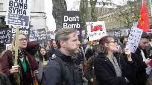 News video: Protesters chant 'Don't bomb Syria!' outside Downing Street