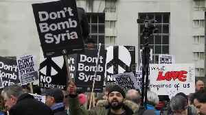 News video: Scores protest outside Downing Street against Syria air strikes