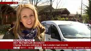 News video: Car Crash Outside Court As Media Wait For Ant McPartlin