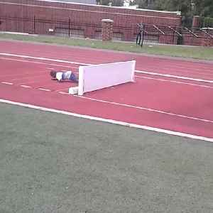 News video: Young Boy Gets Extremely Psyched Up For Hurdle Before Wiping Out