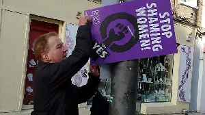 News video: Watch: men caught tearing down pro-abortion posters in Ireland