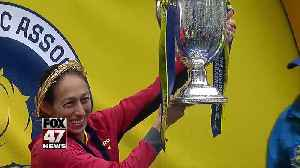 News video: Desiree Linden, who lives in metro Detroit, wins Boston Marathon