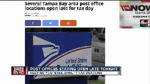News video: Several Tampa Bay area post office locations open late for tax day