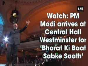 News video: Watch: PM Modi arrives at Central Hall Westminster for Bharat Ki Baat Sabke Saath event