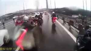 News video: Biker Gang Shield Dog From Oncoming Traffic