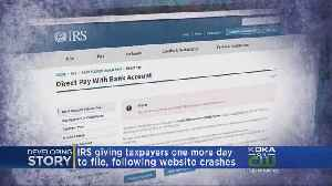 News video: IRS Giving Taxpayers Extra Day To File After Website Issues