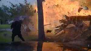 News video: Police Dash Cam Captures Video of House Exploding in Texas