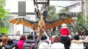 News video: Giant metal creatures inhabit urban jungle