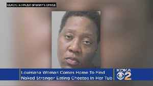 News video: Police: Homeowner Finds Intruder Taking A Bath, Eating Cheetos