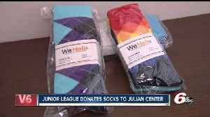News video: Junior League donates hundreds of pairs of socks to the Julian Center
