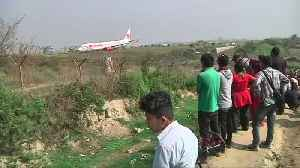 News video: Plane skids off the runway during take off in Nepal