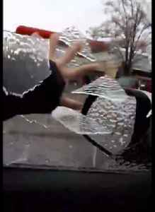 News video: Frozen Rain Forms Ice Sheets To Replace Car Windows