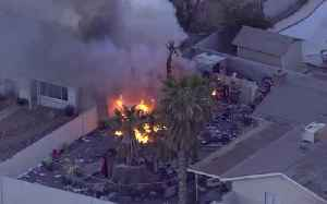 News video: Firefighters tackle shed fire near Sahara, Decatur