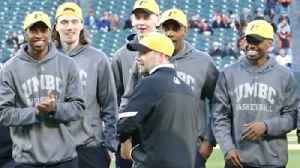 News video: UMBC men's basketball coach Ryan Odom threw out the first pitch at the Orioles game