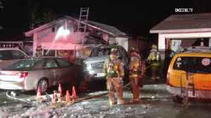 News video: Mira Mesa home catches fire after suspected DUI driver hits parked cars, house