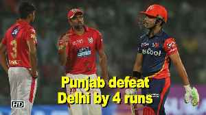 News video: IPL 2018 | Punjab defeat Delhi by four runs in nail-biting contest