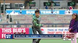 News video: Spelling Bee Winner Throws out Drillers First Pitch