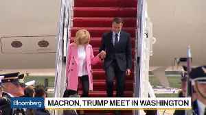News video: Macron Lands in U.S. to Fanfare Ahead of Talks With Trump