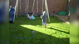 News video: Excited Tot Girl Falls Off Swing She Got For Christmas