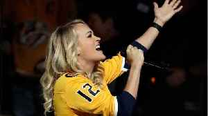 News video: Carrie Underwood Sang The National Anthem At Nashville Predators Game