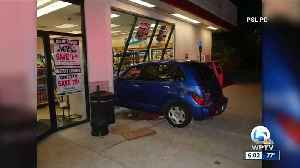 News video: Driver crashes into Port St. Lucie gas station & flees scene, police say