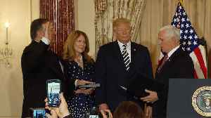 News video: Mike Pompeo sworn in at State Department with Trump in attendance
