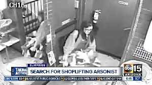 News video: Surprise police searching for woman that lit fire before shoplifting