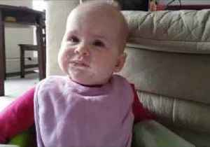 News video: Baby Tries Greek Yogurt for the First Time