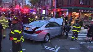 News video: 6 Injured When Car Jumps Curb, Crashes Into NYC Deli