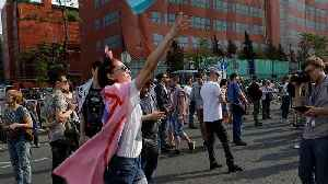 News video: Hundreds of people rallied in Moscow demanding the Telegram app be unblocked