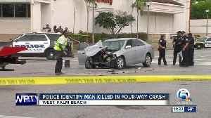 News video: Man killed in 4-vehicle crash along Palm Beach Lakes Boulevard in West Palm Beach
