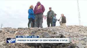 News video: Group protesting in support of statue for Grand Island WWII hero