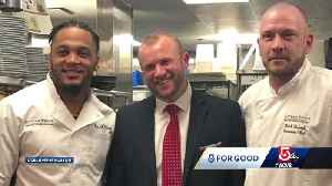 News video: 5 For Good: New England Patriots safety takes over restaurant for a good cause