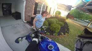 News video: Sweet Lady Has Funny Reaction To Her Son's New Motorcycle