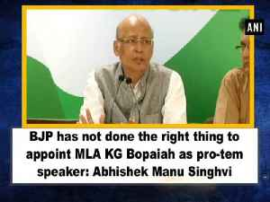 News video: BJP has done the right thing to appoint MLA KG  Bopaiah as pro-tem speaker: Abhishek Manu Singhvi