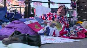 News video: Superfans brave cold to glimpse Prince Harry and Meghan