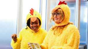 News video: Watch Idina Menzel Sing Badly in a Chicken Suit on 'Undercover Boss: Celebrity Edition' (Exclusive)