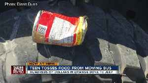 News video: Student throws a can of Chef Boyardee out of a moving school bus window, hitting vehicle